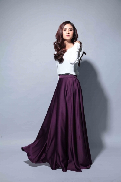 Satin Flare Skirt Dark Purple